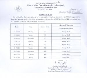 Allama Iqbal Open University AIOU FA/FSc Date Sheet 2019