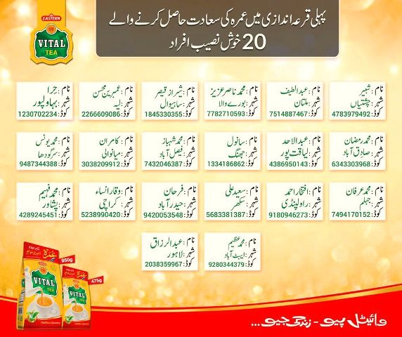 Download detailed List of Umrah Scheme Winner 01 Lucky Draw Vital Tea