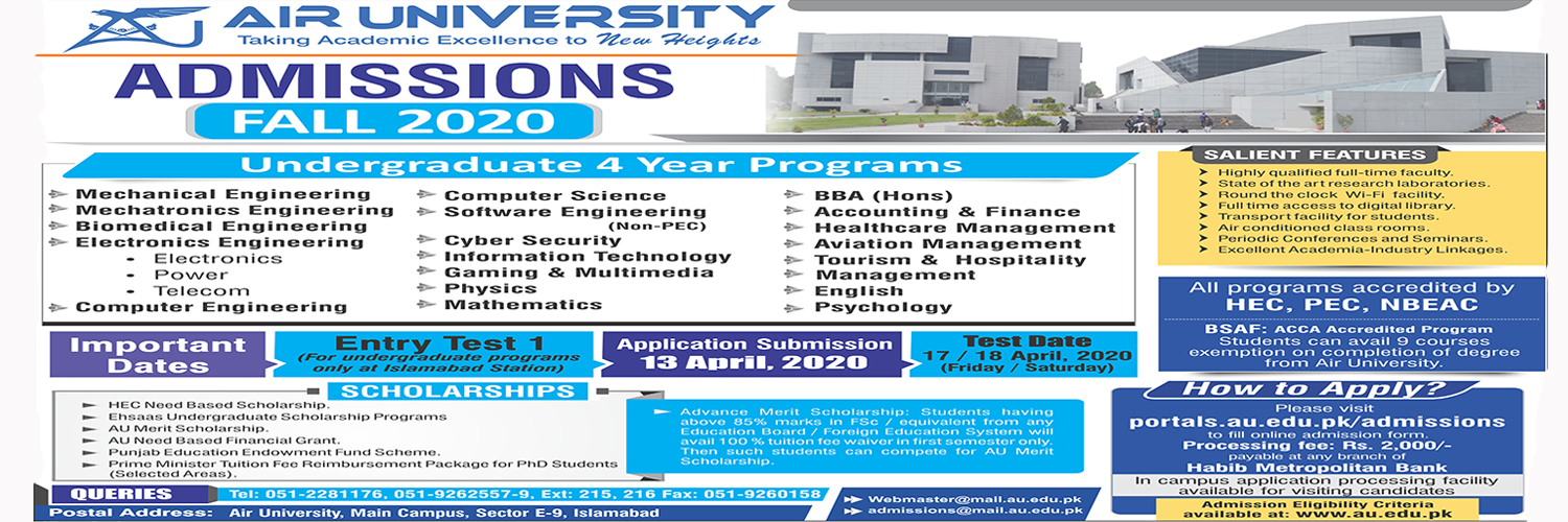 Air University Admission Fall 2020