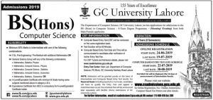 GCU Lahore Admission BS(Hons) Computer Science