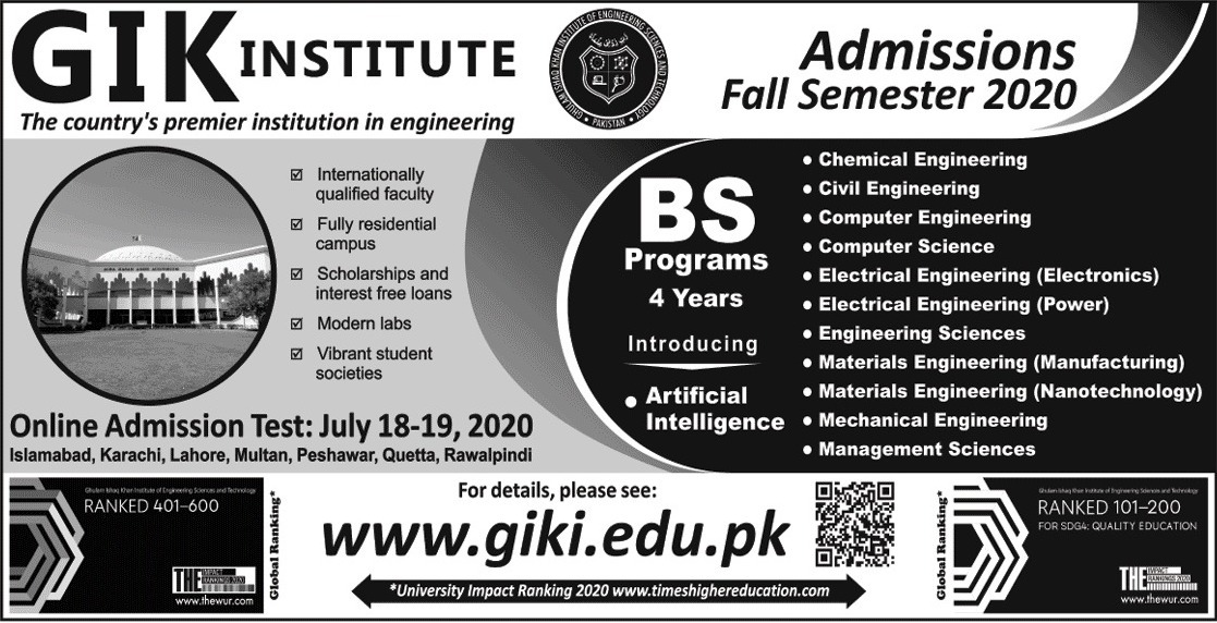 GIK Institute Admission Fall Semester 2020