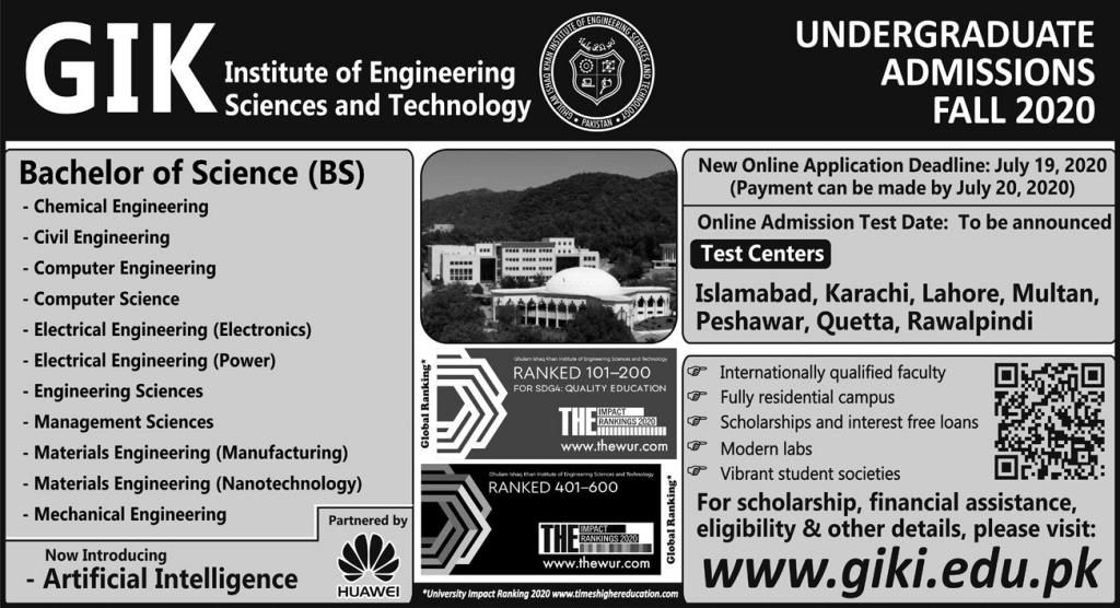 GIK Institute BS Program Admissions Fall Semester 2020