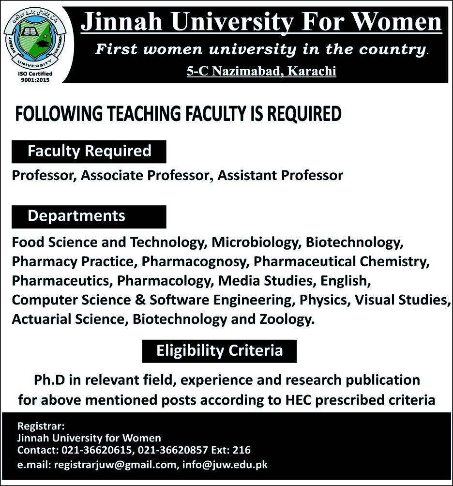 Jinnah University For Women Jobs