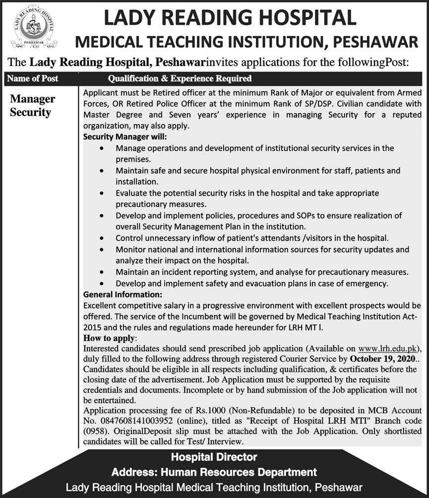 Lady Reading Hospital Peshawar (MTI) Jobs 2nd October 2020