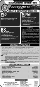 National Defence University (NDU) BS & M.Phil Admission Fall 2020