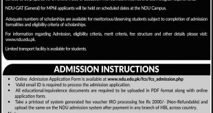 NATIONAL DEFENCE UNIVERSITY (NDU) ADMISSION OPEN SPRING-2021