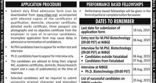 NATIONAL INSTITUTE FOR BIOTECHNOLOGY AND GENETIC ENGINEERING (NIBGE) DEPARTMENT OF BIOTECHNOLOGY ADMISSION