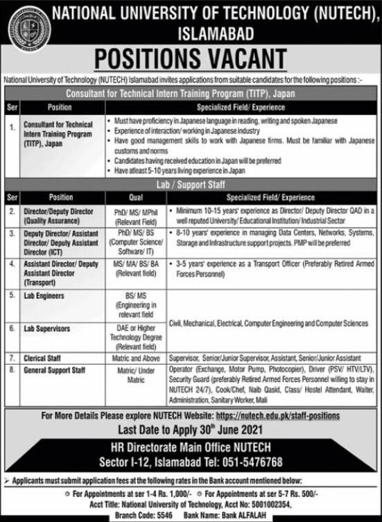 National University of Technology (NUTECH) Islamabad Jobs 2021