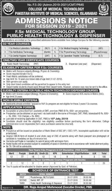 PIMS F.Sc MEDICAL TECHNOLOGY GROUP ,PUBLIC HEALTH TECHNOLOGY & DISPENSER ADMISSIONS 2019