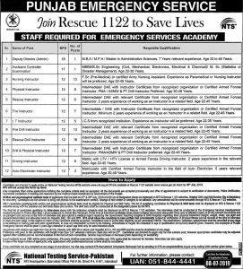 Rescue 1122 Lahore PES Academy Jobs