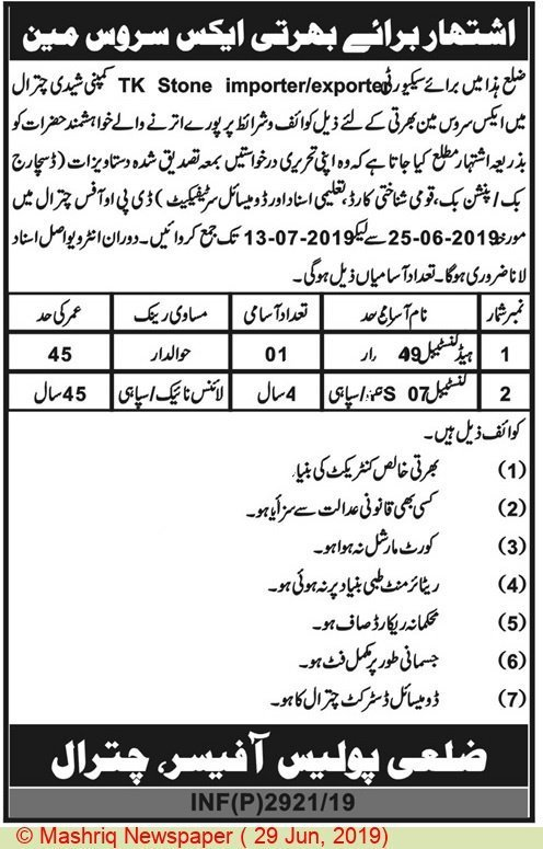 Chitral Police Jobs