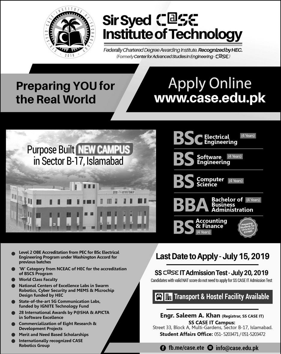 Sir Syed University of Engineering and Technology Admission 2019