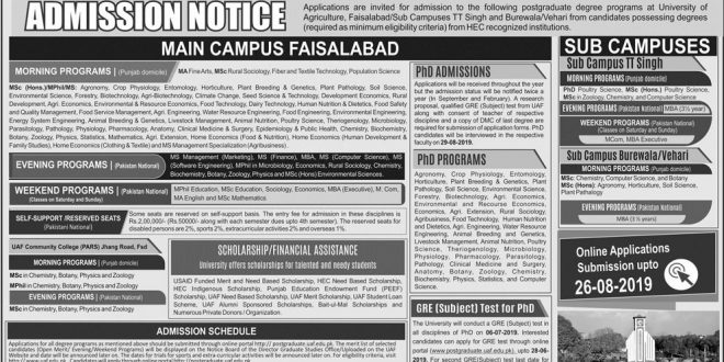 University of Agriculture  Faisalabad MSc(Hons) MPhil/MS and PhD