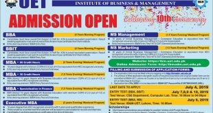 UET Institute of Business and Management Admission 2019