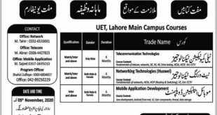 UET Lahore Free Technical Training courses 2020