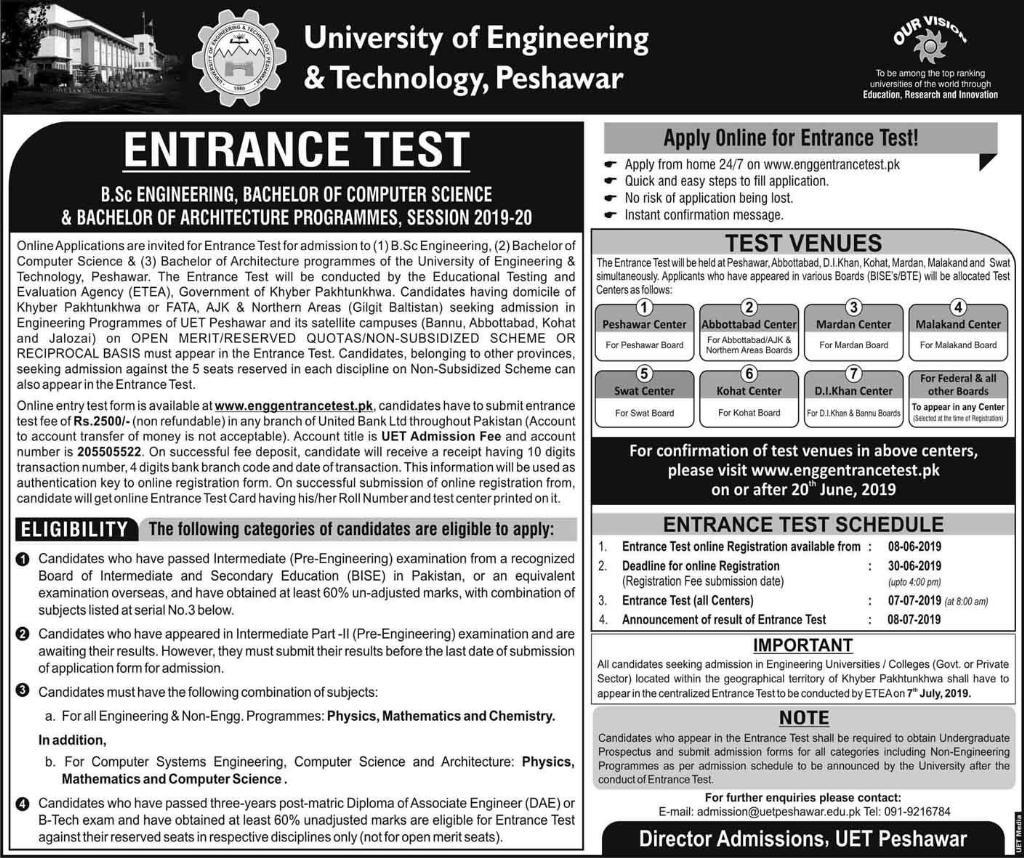 UET Peshawar Bachelor Programs Entrance Test 2019