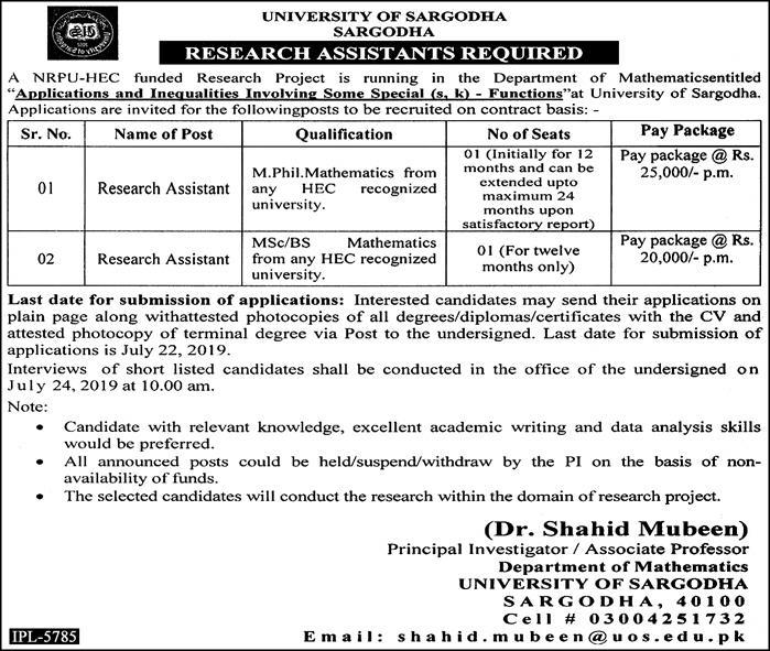 UOS Research Assistant jobs