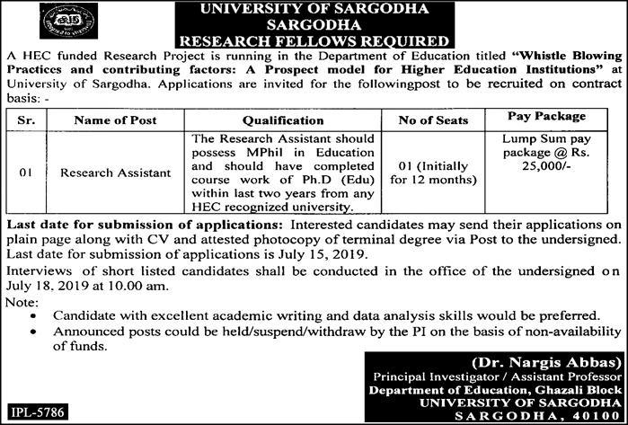UOS Research Assistant jobs June 2019 Advertisement