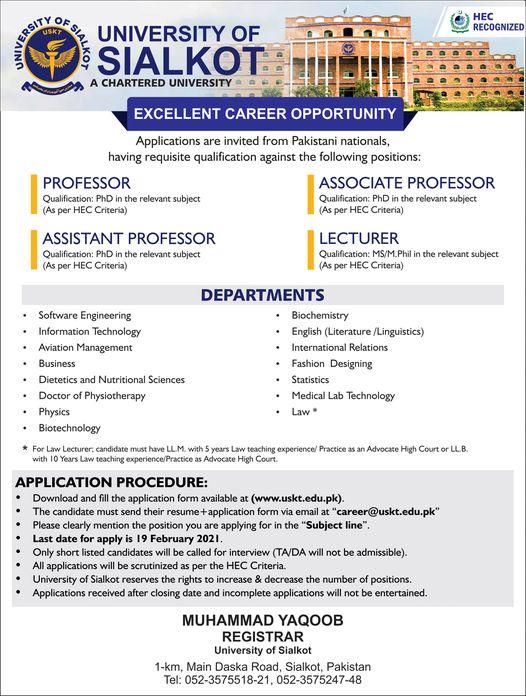 University of Sialkot Jobs 2021