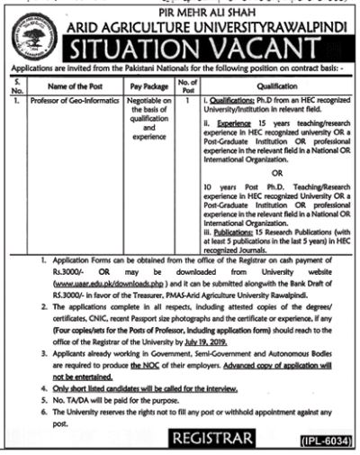 PMAS-AAUR Research Assistant (PhD Student) jobs