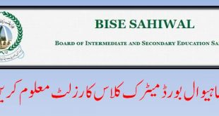 BISE Sahiwal Board 10th class Result 2019