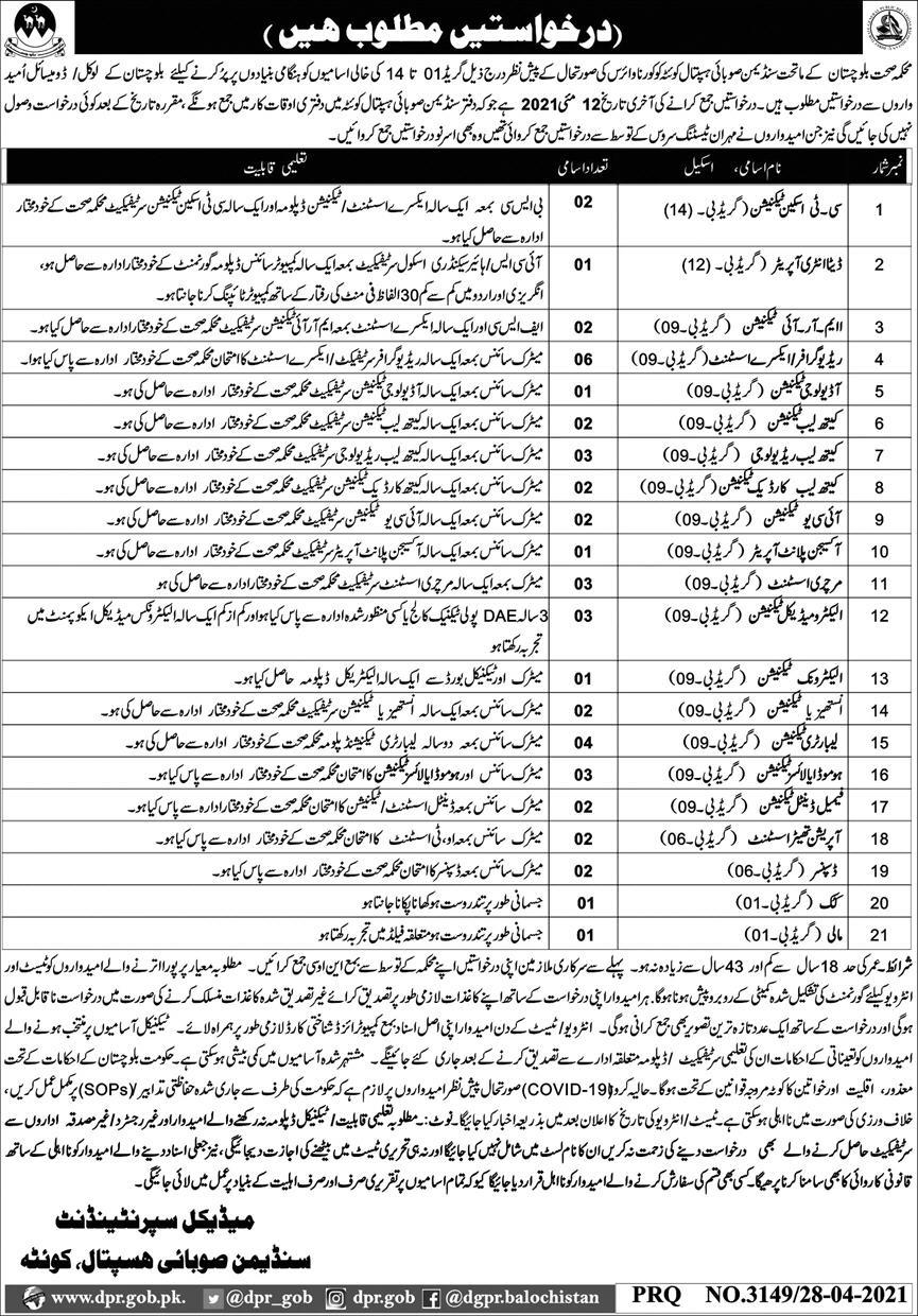 Government of Balochistan Health Department  Jobs 29th April 2021