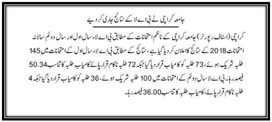 University of Karachi Result