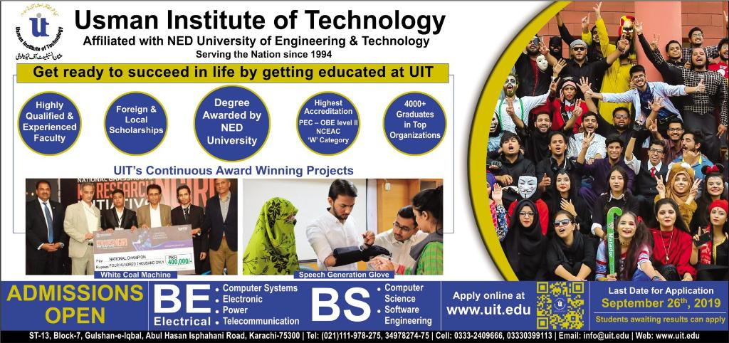 Usman Institute of Technology Admission 2019