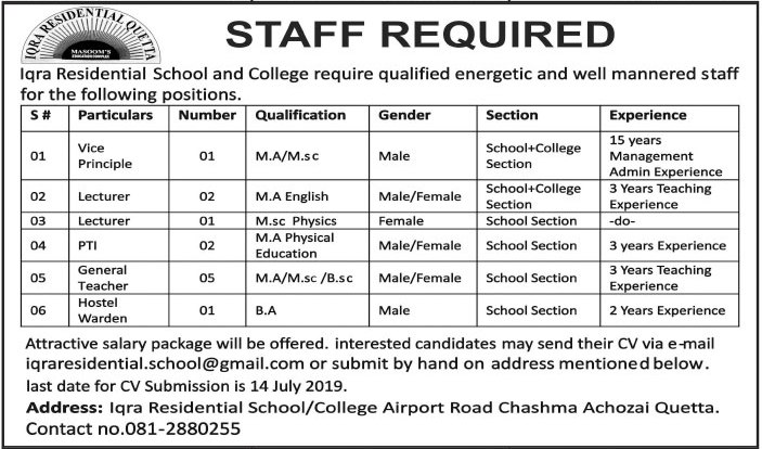 Jobs in Iqra Residential School and College Jobs