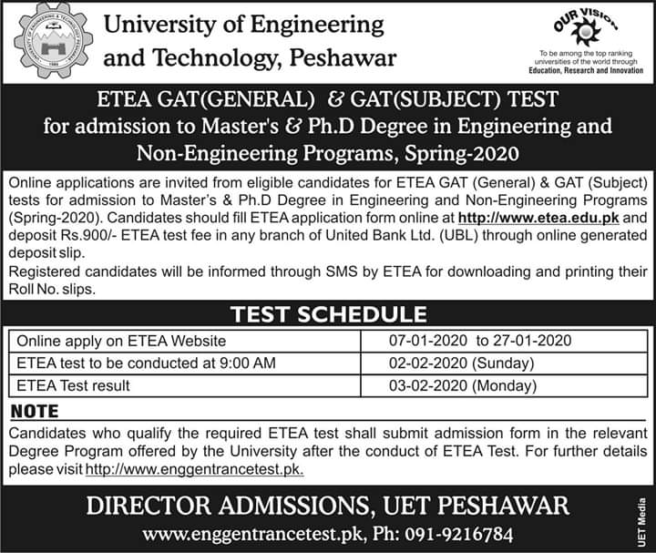 UET Peshawar MASTERS AND PH.D. Degree Programs For Spring - 2020