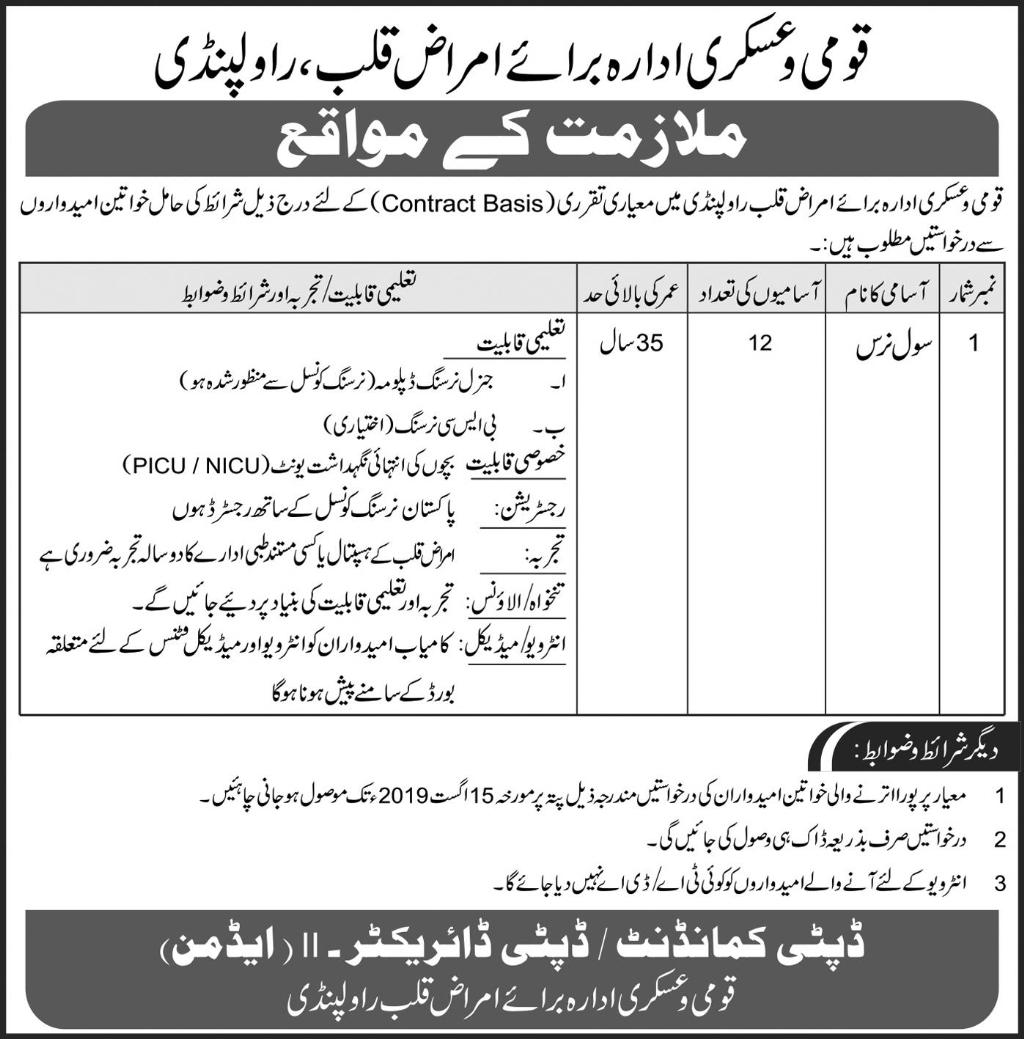 National and Askari institute of Cardiology jobs