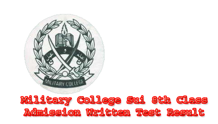 Military College Sui 8th Class Admission Written Test Result 2020