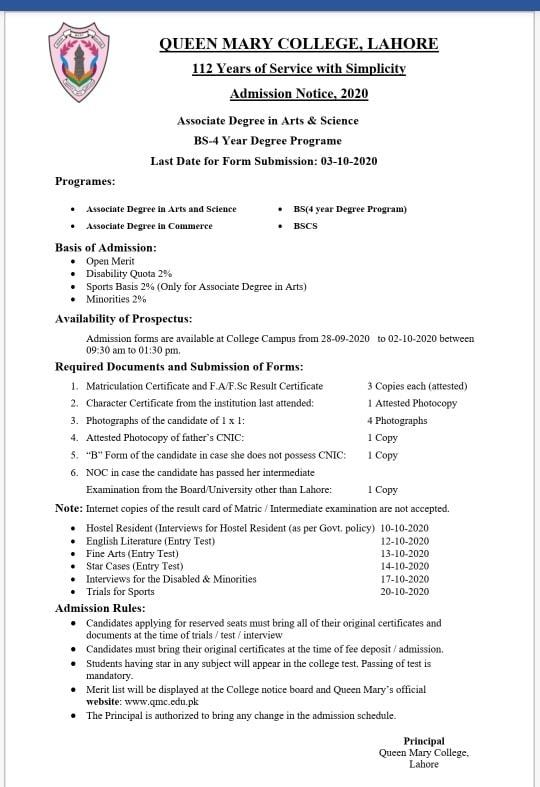 Queen Mary College Lahore Admission 2020