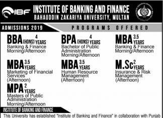 INSTITUTE OF BANKING AND FINANCE BAHAUDDIN ZAKARIYA UNIVERSITY, MULTAN