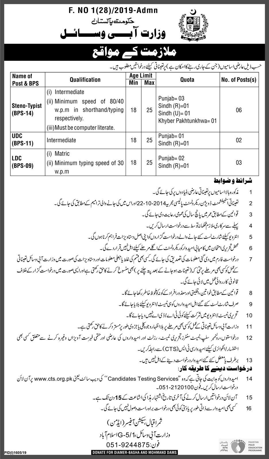 Ministry of Water Resources Pakistan CTS Jobs