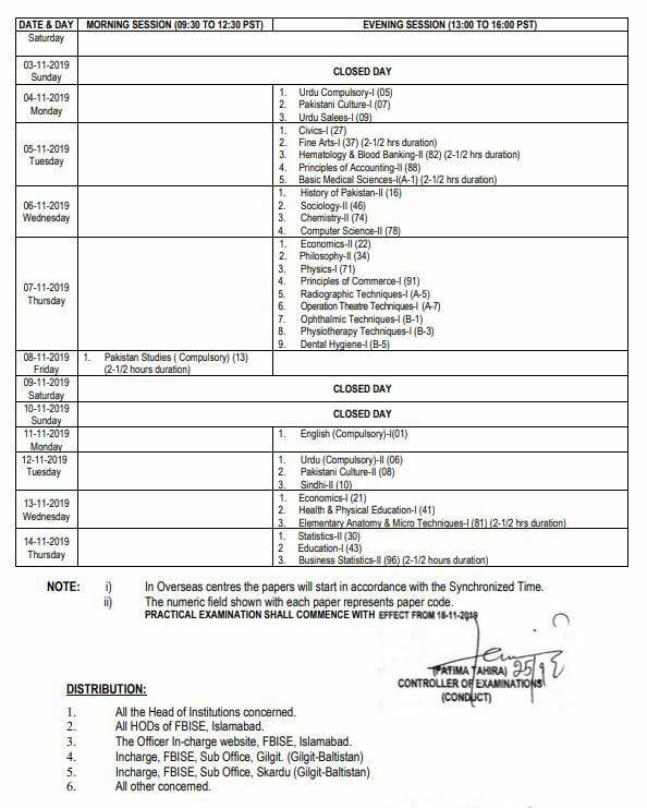 FBISE date sheet
