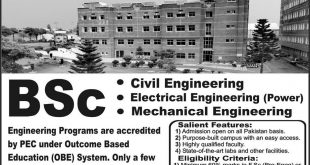 SWEDISH COLLEGE OF ENGINEERING & TECHNOLOGY WAH CANTT ADMISSIONS 2019