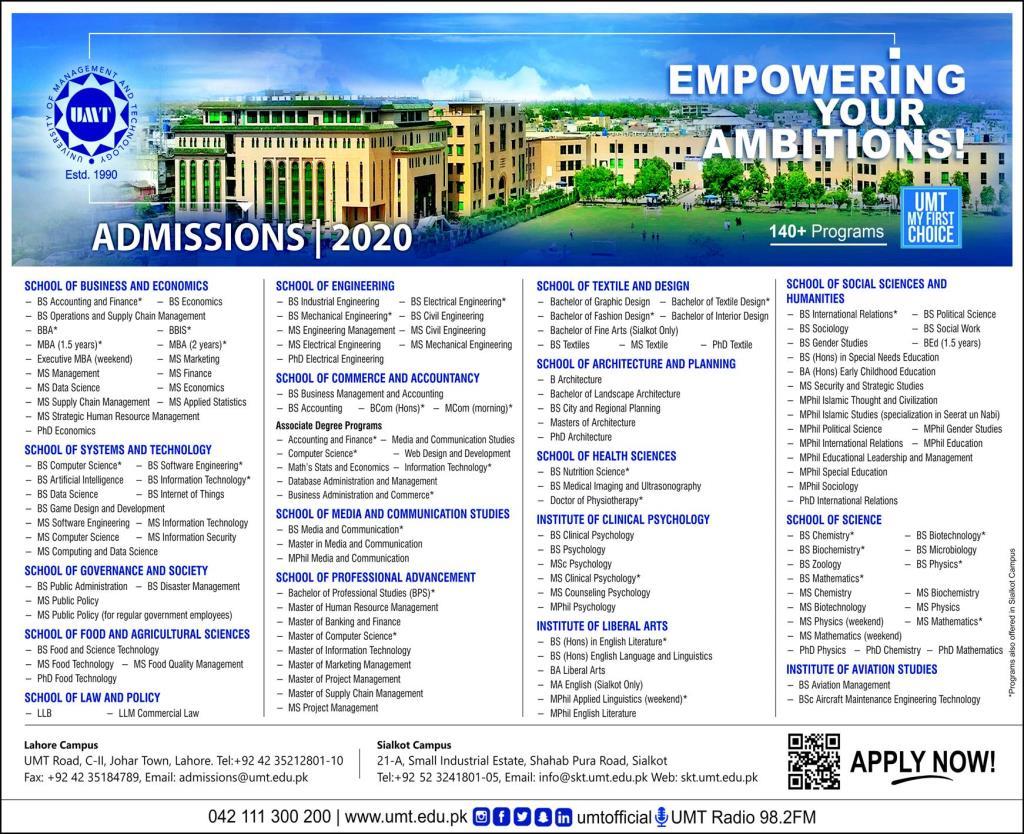 UMT Admission 2020