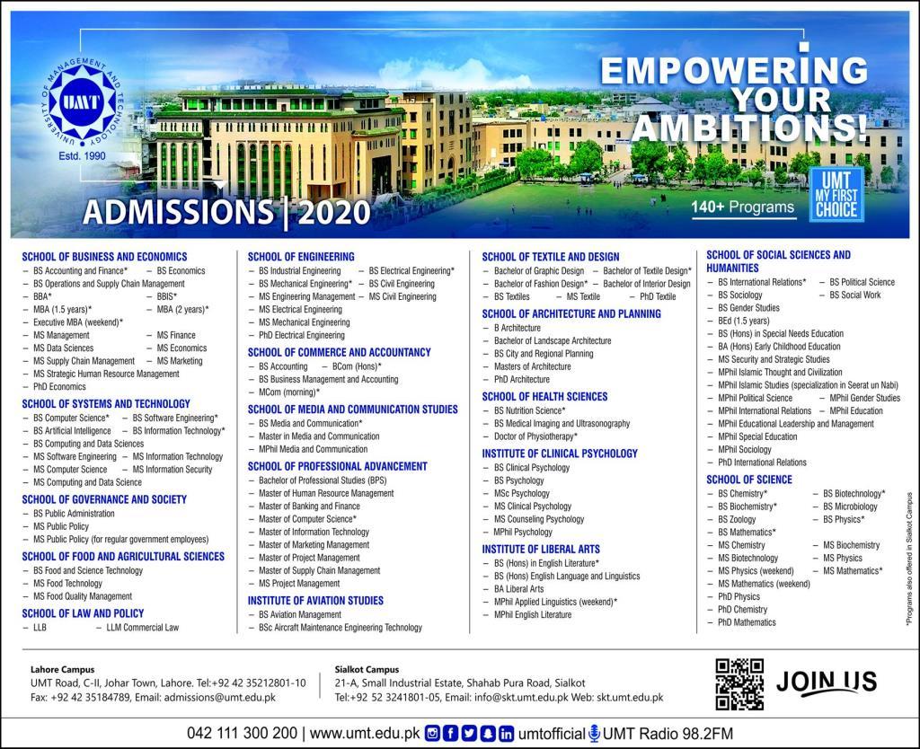 UMTundergraduate programs Admission 2020