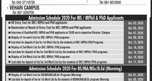 UNIVERSITY OF EDUCATION LAHORE Admissions Fall 2020