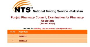 Punjab Pharmacy Council, Examination for Pharmacy Assistant Answer keys