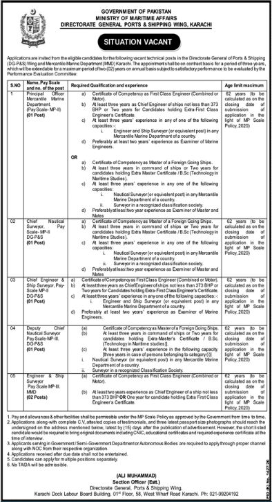 GOVERNMENT OF PAKISTAN MINISTRY OF MARITIME AFFAIRS DIRECTORATE GENERAL PORTS & SHIPPING WING KARACHI JOBS