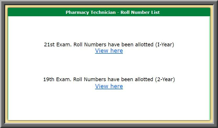 Punjab Pharmacy Technician Roll Number Slips for Annual & Supplementary Examination 2020