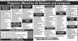 UNIVERSITY OF EDUCATION LAHORE ADMISSION