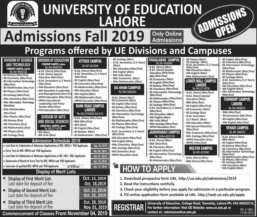 UNIVERSITY OF EDUCATION LAHORE ADMISSION