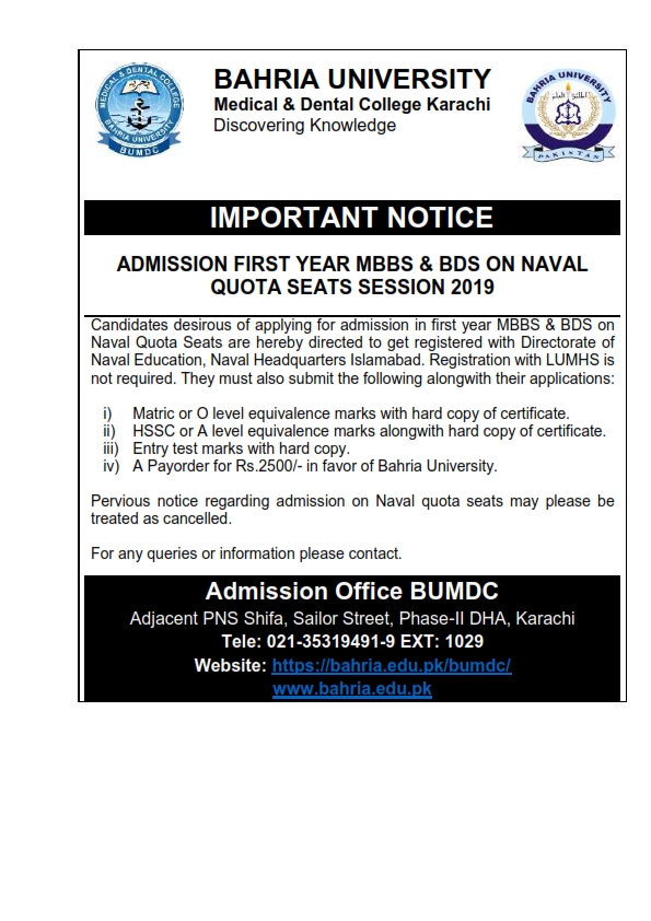 ADMISSION FIRST YEAR MBBS & BDS ON NAVAL QUOTA SEATS SESSION 2019