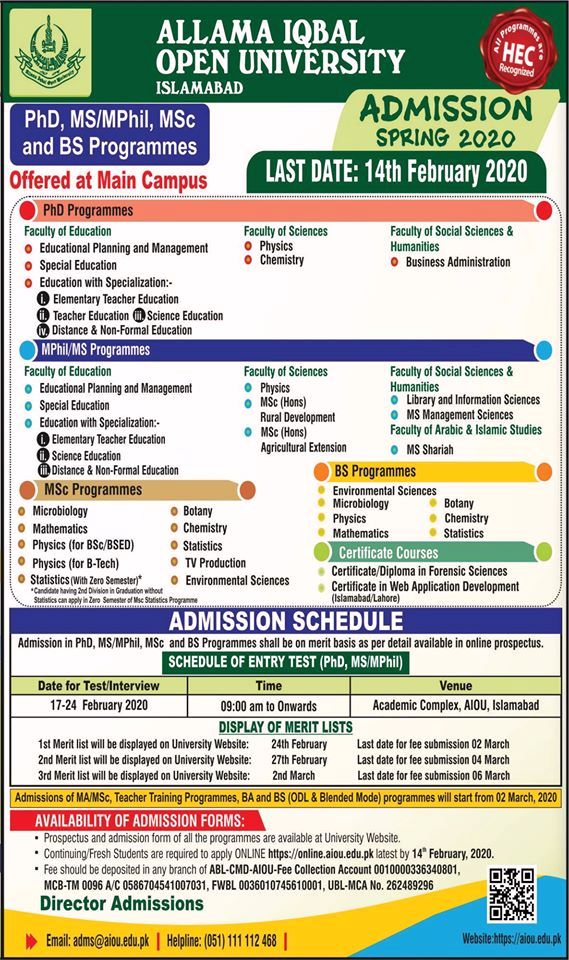 aiou Admissions Open Semester Spring 2020