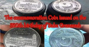 The commemoration Coin and stamps issued on the 550th birthday of Baba Gru Nanak