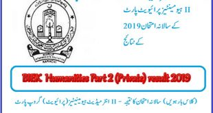 BIEK Humanities Private Part-II annual examination Result 2019