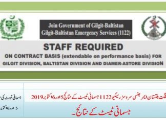 Gilgit-Baltistan Emergency Services 1122 Physical Test Result October 2019